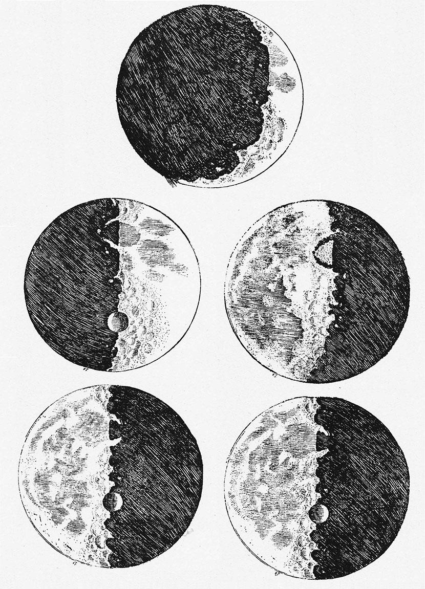 Galileo Galilei's drawings of the moon