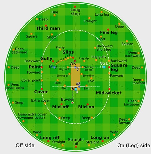 Round Diagram of Cricket Fielding Positions