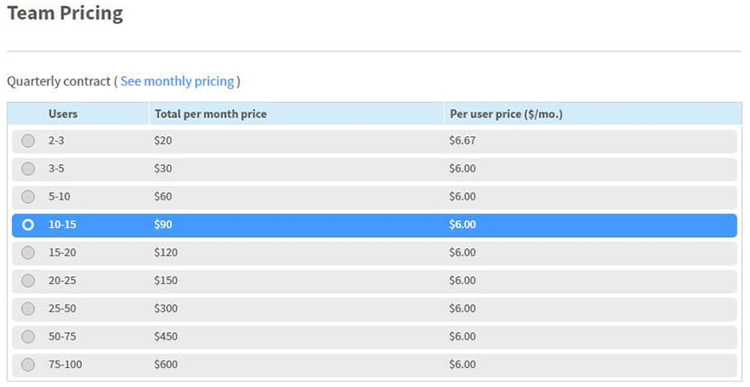 Team Plan Pricings