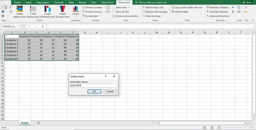 Step 1 - Sankey Diagram in Excel