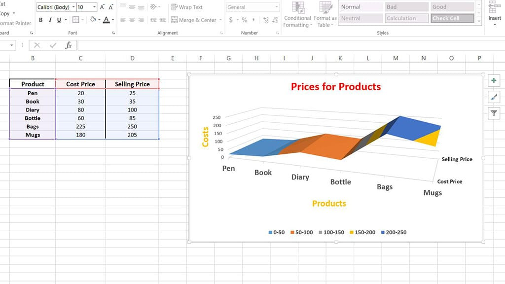 surface chart excel